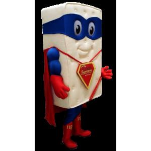 Mascote colchão gigante vestido como super-herói