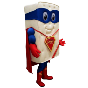 Mattress Giant mascot dressed as superhero