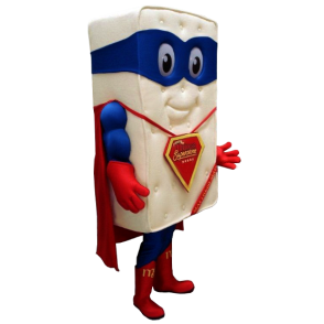 Mattress Giant mascotte verkleed als superheld - MASFR21160 - superheld mascotte