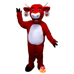 Koe mascotte Kiri, rood en wit