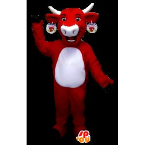 Krávou maskot Kiri, červené a bílé