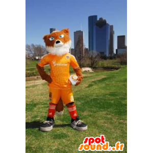 Mascotte de renard orange et blanc en tenue de sport jaune