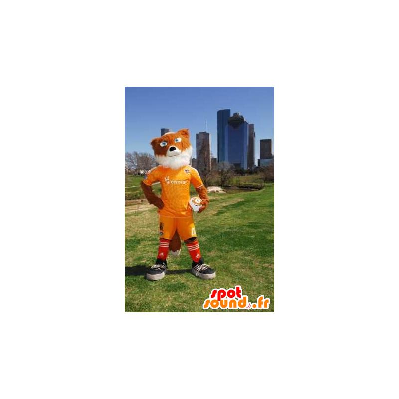 Orange und weiße Fuchs Maskottchen sportkleidung gelber - MASFR21183 - Maskottchen-Fox