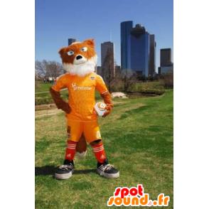 Mascotte de renard orange et blanc en tenue de sport jaune - MASFR21183 - Mascottes Renard