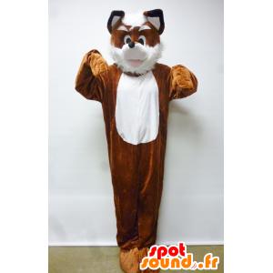 Mascotte de renard, de chien, orange et blanc