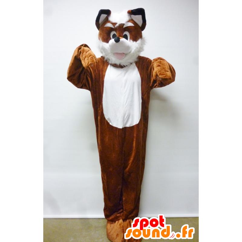 Mascotte de renard, de chien, orange et blanc - MASFR21187 - Mascottes Renard