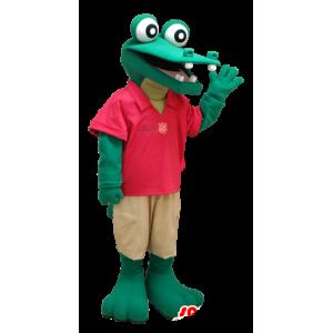 Coccodrillo verde mascotte, vestito rosso e beige - MASFR21201 - Mascotte di coccodrilli
