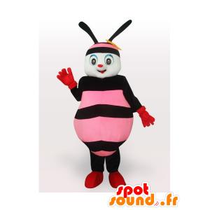 Růžové a černé včela maskota