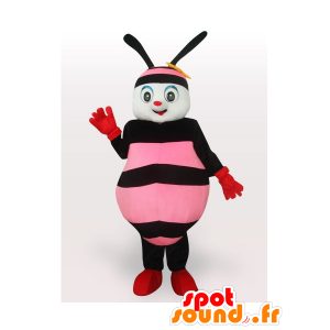 Roze en zwarte honingbij mascotte