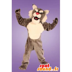 Gray and white Lynx mascot - MASFR21206 - Mascots Fox
