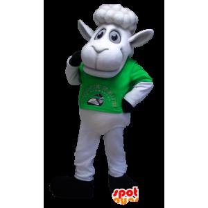 Mascotte de mouton blanc avec un t-shirt vert