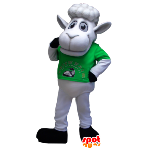 White sheep mascot with a green t-shirt