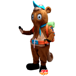 Mascot tamanoir, καφέ σκύψει με μια τσάντα πεζοπόρος