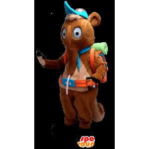 Mascot Tamanoir, bruin hurken met een wandelaar zak