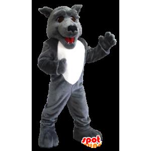 Grå og hvid ulvemaskot - Spotsound maskot kostume