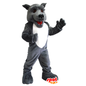 Gray and white wolf mascot