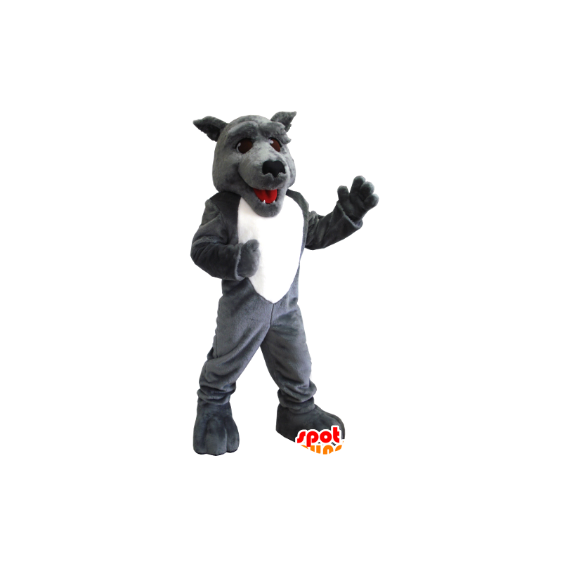 Grå og hvit ulv maskot - MASFR21219 - Wolf Maskoter