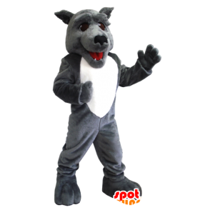 Gray and white wolf mascot - MASFR21219 - Mascots Wolf