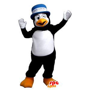 Mascot black and white penguin with a hat