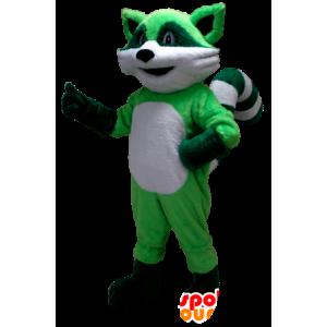 緑と白のアライグマのマスコット