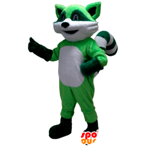 Green and white raccoon mascot