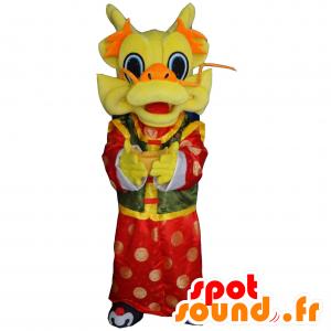 Kiinalainen lohikäärme maskotti, keltainen, punainen ja vihreä - MASFR21226 - Dragon Mascot