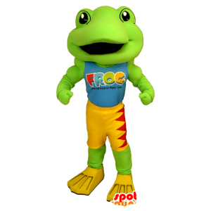 Mascot green frog, yellow and red - MASFR21231 - Mascots frog