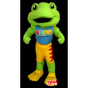 Mascot vihreä sammakko, keltainen ja punainen - MASFR21231 - sammakko Mascot