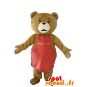 Av brunbjørn maskot med et rødt forkle - MASFR21232 - bjørn Mascot
