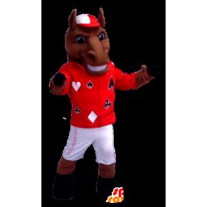 Brązowy koń maskotka gospodarstwa jockey