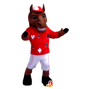 Bruin paard mascotte houdt jockey