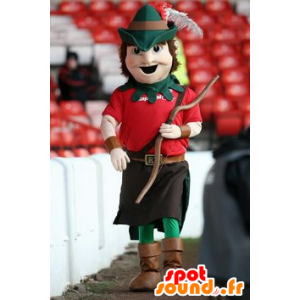 Mascot Robin Hood gekleed rood en groen