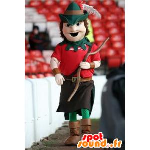 Mascot Robin Hood pukeutunut punainen ja vihreä
