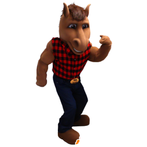 Brown horse mascot with a plaid shirt and jeans