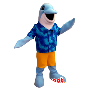 Mascotte de dauphin bleu et blanc avec une chemise hawaïenne