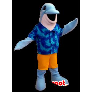 Stripet delfin maskot med en Hawaii-skjorte
