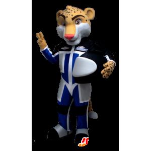 Tiger mascot, leopard Pilot held - MASFR21244 - Tiger mascots
