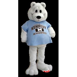 Polar Bear Mascot with a blue shirt - MASFR21246 - Bear mascot