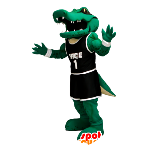 Coccodrillo verde mascotte nero abito sportivo - MASFR21248 - Mascotte di coccodrilli