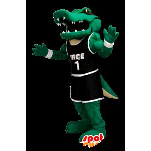 Mascota del cocodrilo verde traje deportivo negro - MASFR21248 - Mascota de cocodrilos