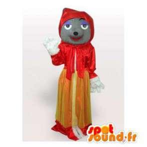 Mascotte de loup en chaperon rouge. Costume chaperon rouge - MASFR006454 - Mascottes Loup