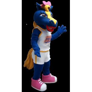 Blue and yellow horse mascot - MASFR21258 - Mascots horse