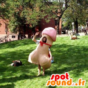 Mascotte de pénis géant, beige et rose - MASFR21263 - Mascottes d'objets