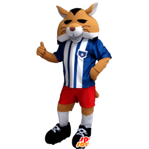 Orange fox mascot, black and white in sportswear
