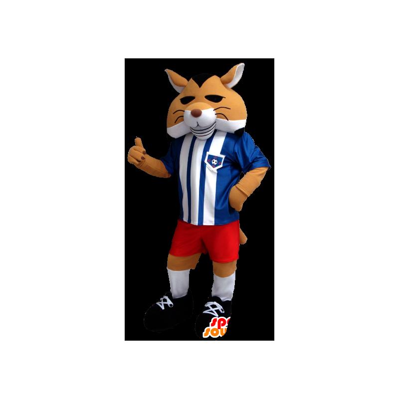 Orange fox mascot, black and white in sportswear - MASFR21264 - Mascots Fox
