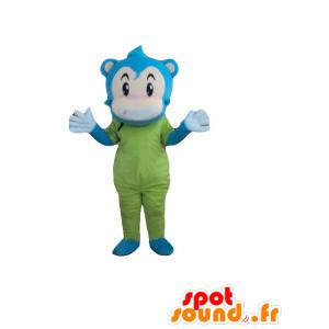 Mascotte de singe, de bonhomme bleu, beige et vert