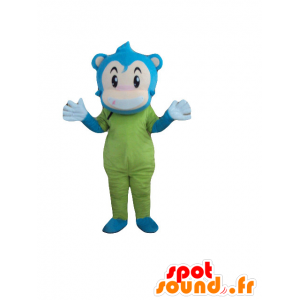 Monkey mascot, blue snowman, beige and green