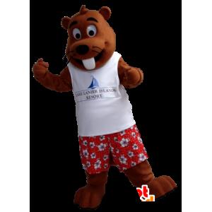 Mascota de la marmota Brown en turista celebrada
