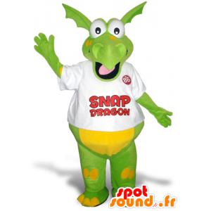 Green Dragon maskotti ja keltainen, hauska ja värikäs - MASFR21276 - Dragon Mascot