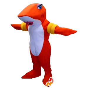 Mascot fish, orange and white shark with armbands